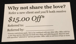 Refer a New Client and You'll Both Receive 15 Dollar Off at Ell Salon and Spa in Columbia MO web